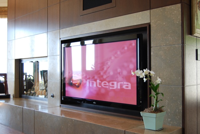 Marble Fireplace TV Integration